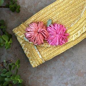 Felix Rey Embroidered Floral Straw Wicker Clutch